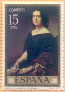 Почтовая марка Королевства Испания с портретом Гертрудис Гомес де Авелльянеда (1977 год)