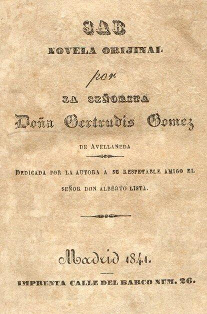 Обложка книги Гертрудис Гомес де Авельянеда «Сборник новелл», Мадрид, 1841 год